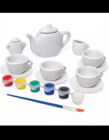 Set de ceai din ceramica pentru pictat - 9 piese [2]