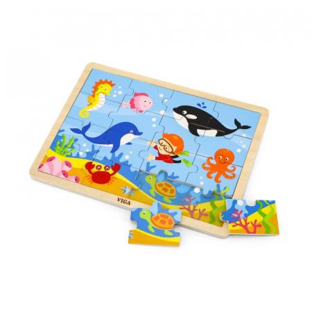 Puzzle din lemn din 16 piese - animale din ocean, Viga1