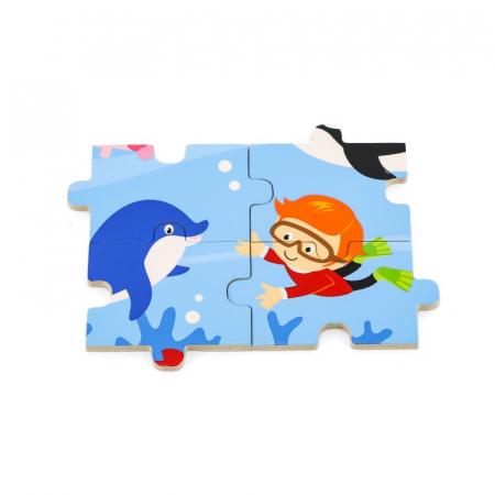 Puzzle din lemn din 16 piese - animale din ocean, Viga2