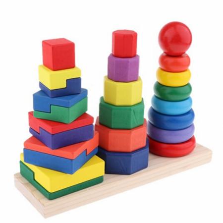 Piramida in stil Montessori 3 in 1 - forme geometrice de stivuit0