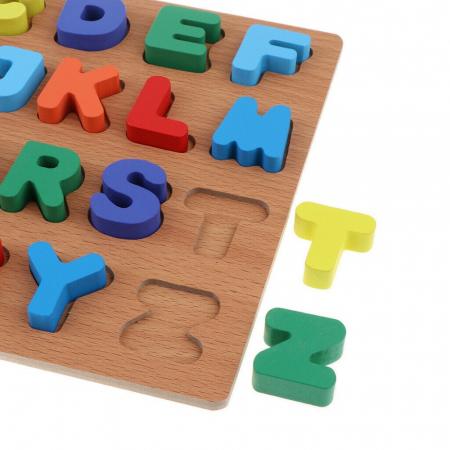 Puzzle incastru din lemn alfabetul – litere mari 3D [0]