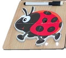 Puzzle lemn 3D buburuza - 2 in 1 cu marker0