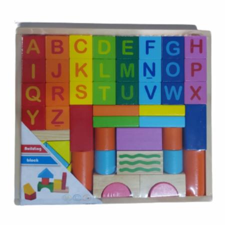 Set cuburi din lemn - constructie cu litere [0]