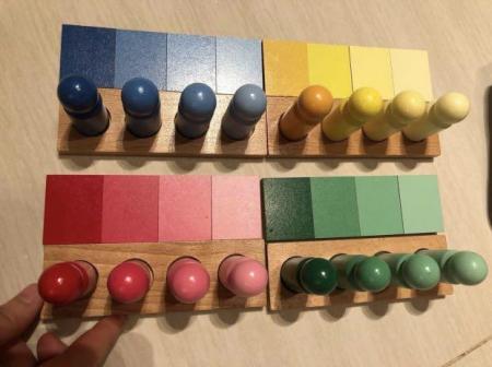 Joc de invatare culori cu pioni lemn in stil Montessori [6]