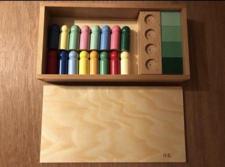 Joc de invatare culori cu pioni lemn in stil Montessori [5]