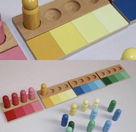 Joc de invatare culori cu pioni lemn in stil Montessori [3]