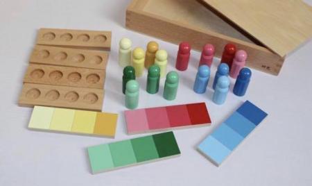 Joc de invatare culori cu pioni lemn in stil Montessori [4]