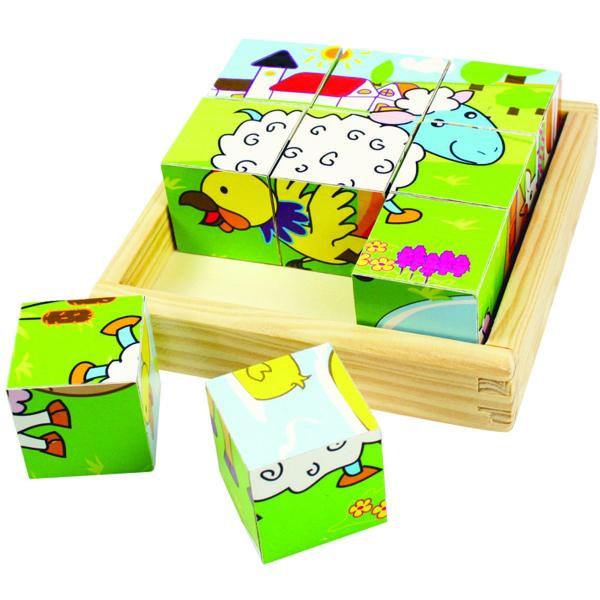 BigJigs Puzzle cubic - animale domestice 0