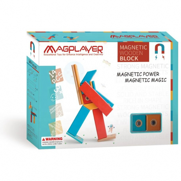 MAGPLAYER Set magnetic din lemn - 14 piese