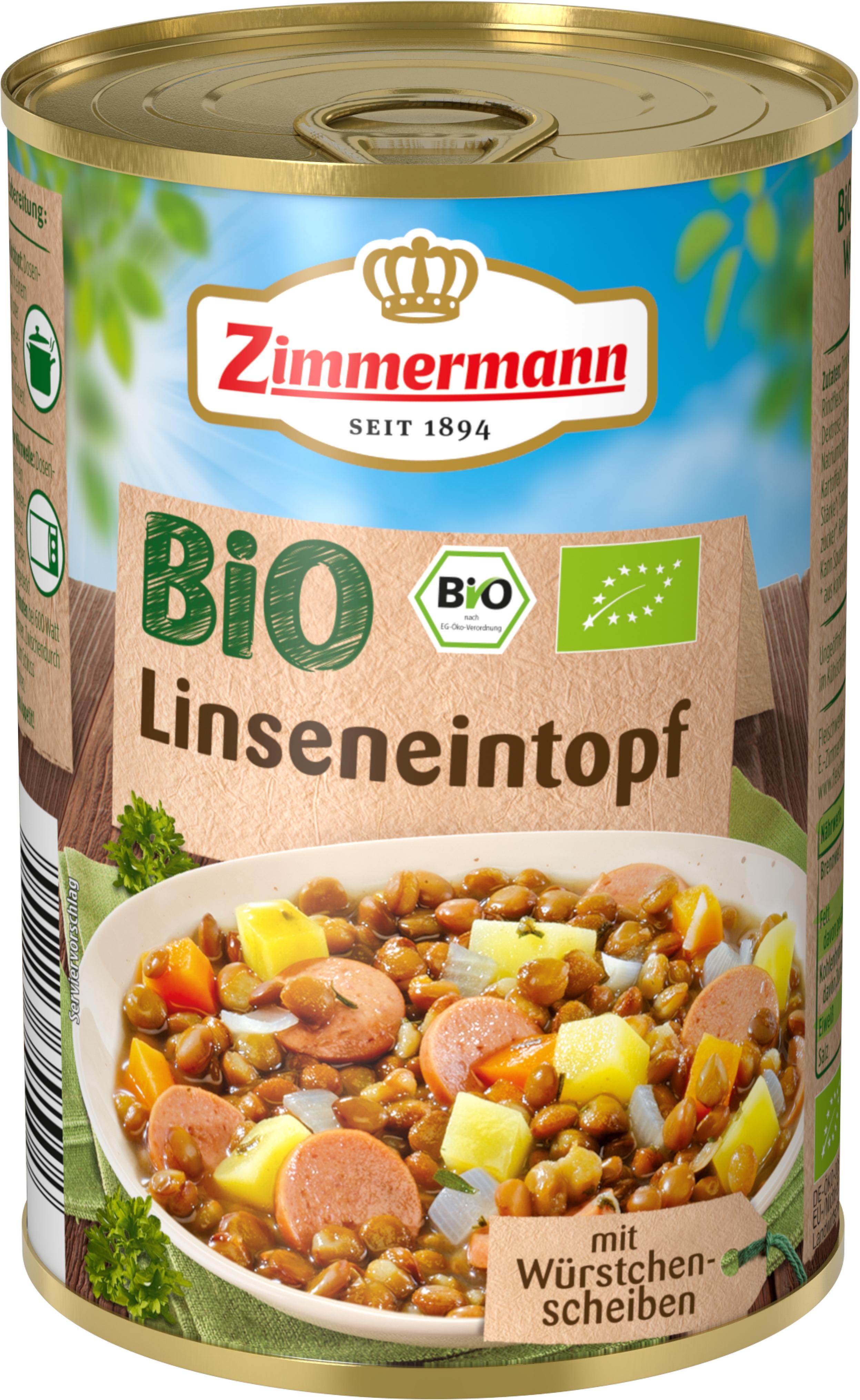 Mancare de linte cu bucati de carnati 400 g Zimmermann Bio [0]