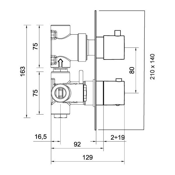 Baterie dus termostatica incastrata PONSI IN01-02 1