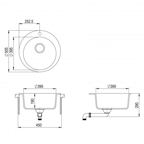 Pachet Aquasanita Pachet Clarus SR100-710AW, chiuveta silicsana, cu baterie Rondo cartus ceramic negru 2