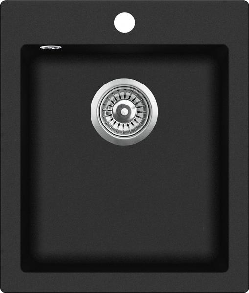 Pachet Aquasanita chiuveta Simplex , silicsana, cu baterie Sabia, cartus ceramic, negru 1