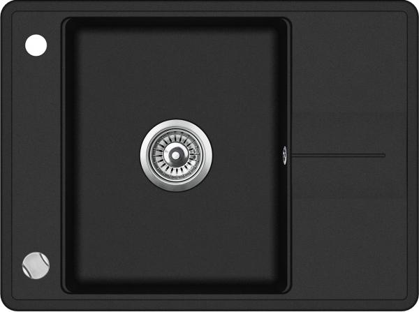Pachet Aquasanita chiuveta Bella SQB102-601AW, silicsana cu baterie Sabia 5523-601, cartus ceramic, negru  1