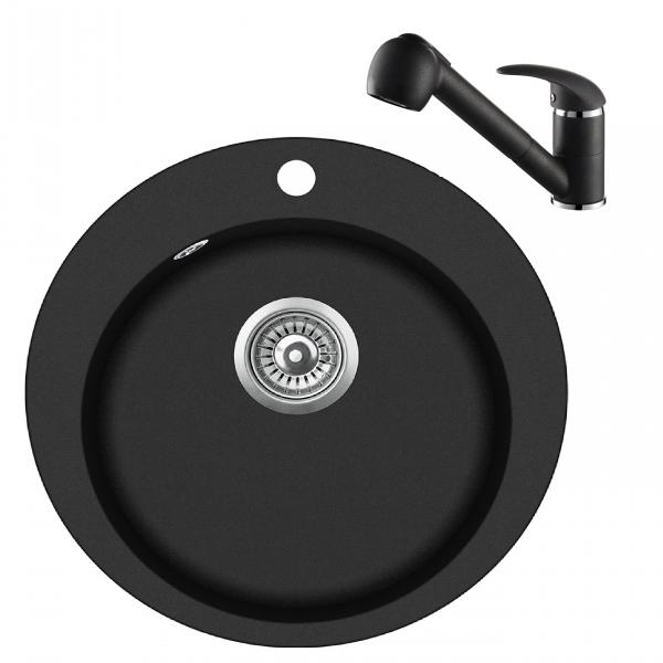 Pachet Aquasanita Pachet Clarus SR100-710AW, chiuveta silicsana, cu baterie Rondo cartus ceramic negru 0