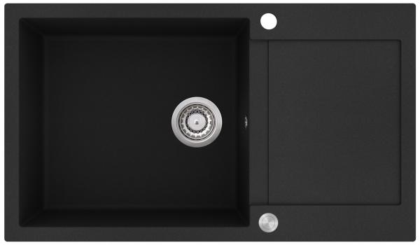 Pachet Aquasanita Tesa SQT104, chiuveta silicsana, cu baterie Forte 5553 cartus ceramic negru - Copie 1