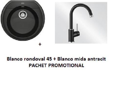 SET Blanco Rondoval 45 + Blanco Mida silgranit antracit 0