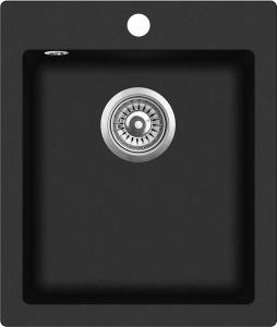 Pachet Aquasanita chiuveta Simplex , silicsana, cu baterie Sabia, cartus ceramic, negru1
