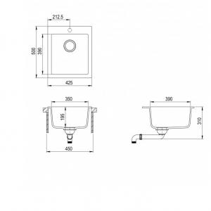 Pachet Aquasanita chiuveta Simplex , silicsana, cu baterie Forte, cartus ceramic, alb 2