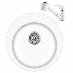 Pachet Aquasanita Pachet Clarus SR100-710AW, chiuveta silicsana, cu baterie Rondo cartus ceramic alb 0