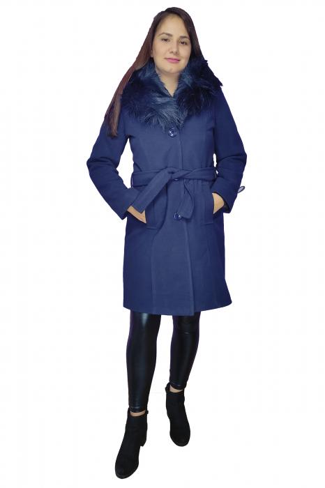 Palton bleumarin din stofa accesorizat cu cordon in talie si blanita 1