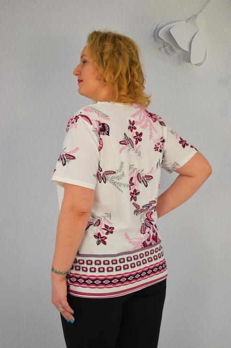 Bluza dama Carina cu maneca scurta si margele aplicate la guler 1