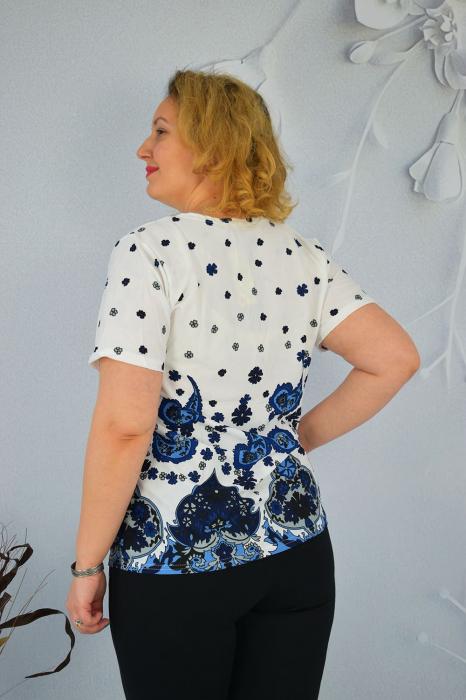Bluza dama Eleni cu maneca scurta si broderie in zona gatului 1