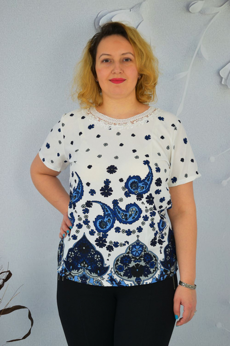 Bluza dama Eleni cu maneca scurta si broderie in zona gatului 0