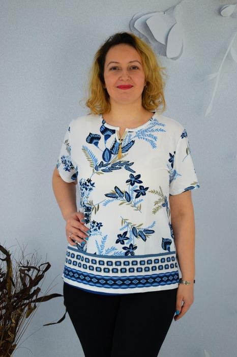 Bluza dama Caroli cu maneca scurta si imprimeu abstract [0]
