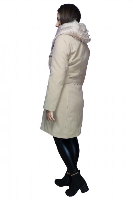 Palton bleumarin din stofa accesorizat cu cordon in talie si blanita 2
