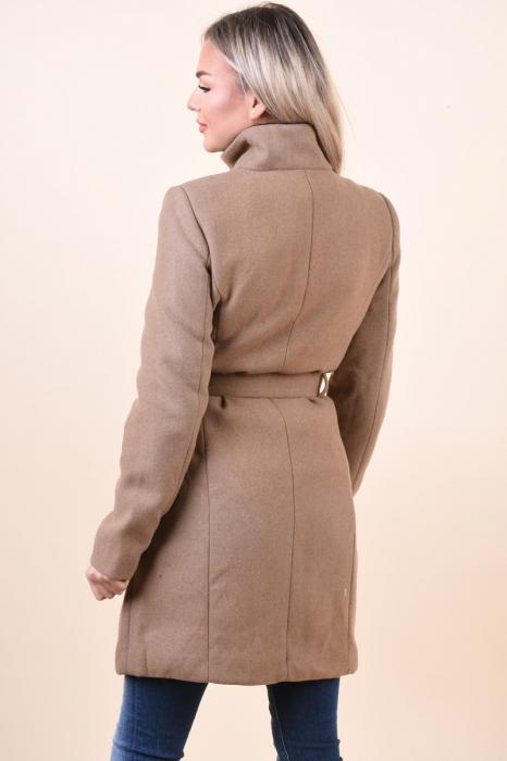 Palton dama Vero Moda maro cu guler inalt 2