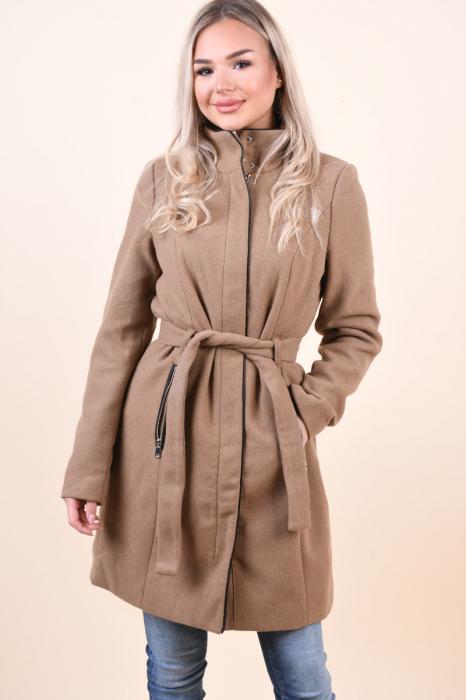 Palton dama Vero Moda maro cu guler inalt 0