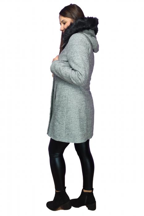 Palton gri din lana cu blana ecologica si guler inalt 2