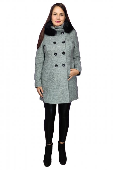 Palton gri din lana cu blana ecologica si guler inalt 1