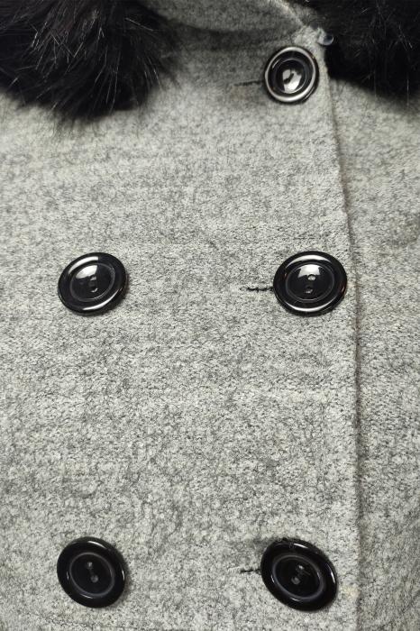 Palton gri din lana cu blana ecologica si guler inalt 3