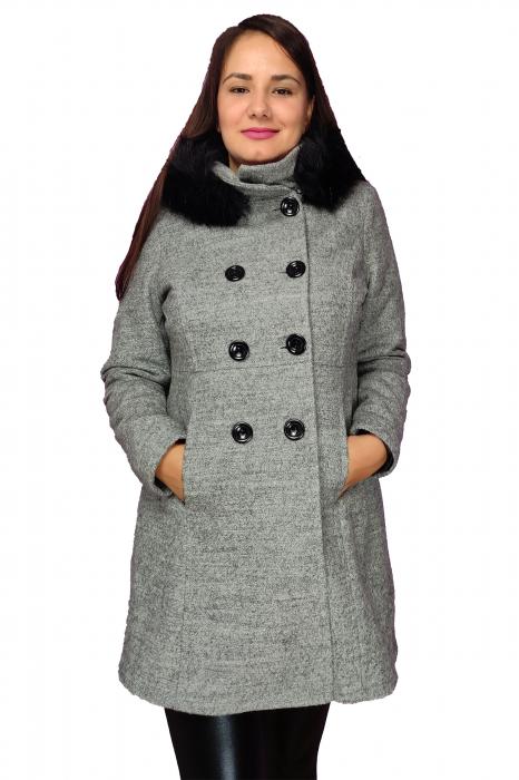 Palton gri din lana cu blana ecologica si guler inalt 0
