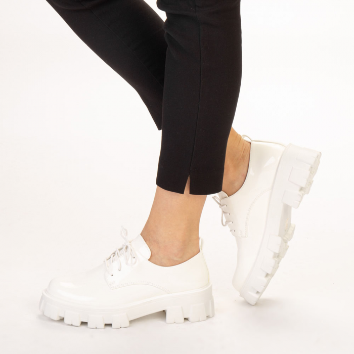 Pantofi casual dama Avona albi 2