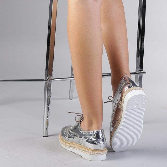 Pantofi casual dama Dina argintii 3