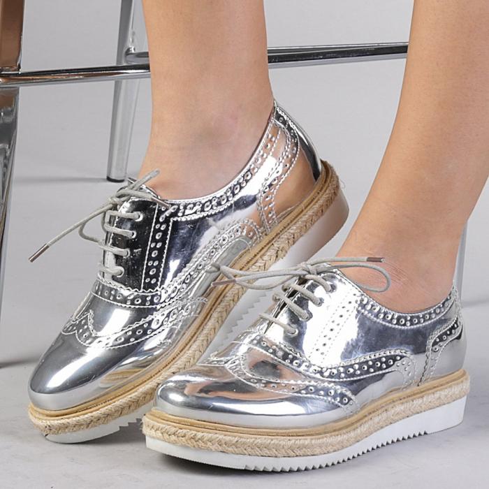 Pantofi casual dama Dina argintii 0