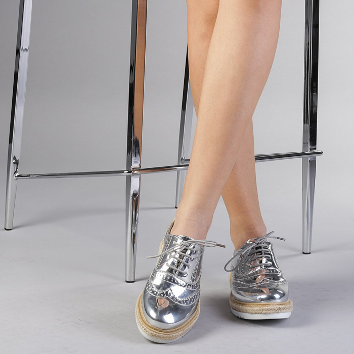 Pantofi casual dama Dina argintii 1
