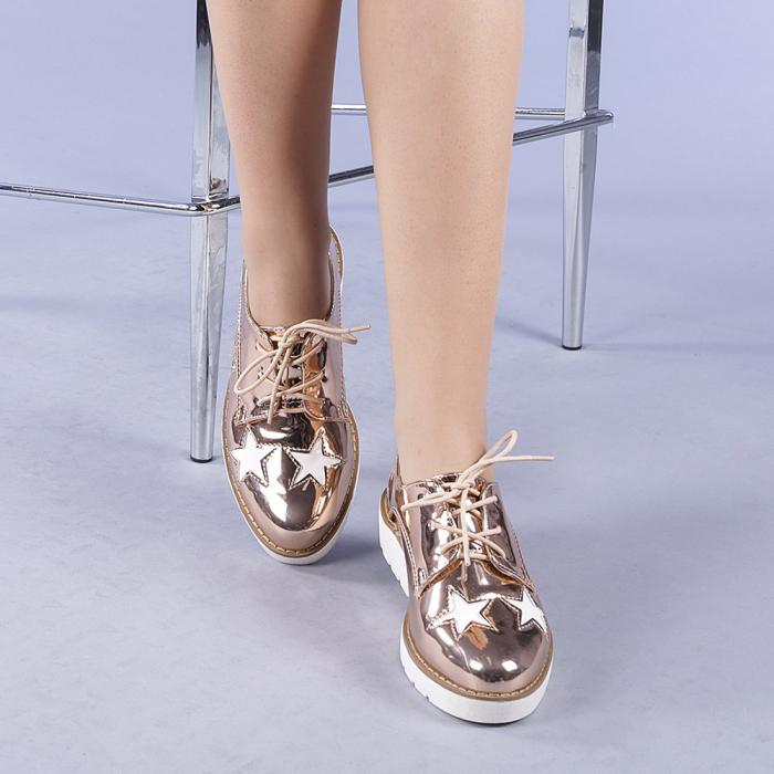 Pantofi casual dama Mirabela champanie 1