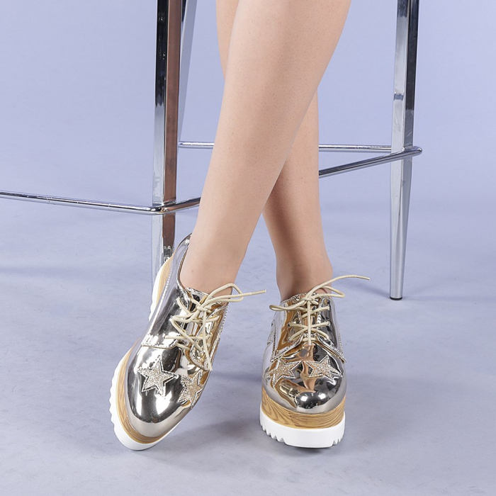 Pantofi casual dama Miriana aurii 1