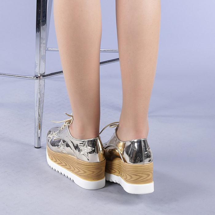 Pantofi casual dama Miriana aurii 3