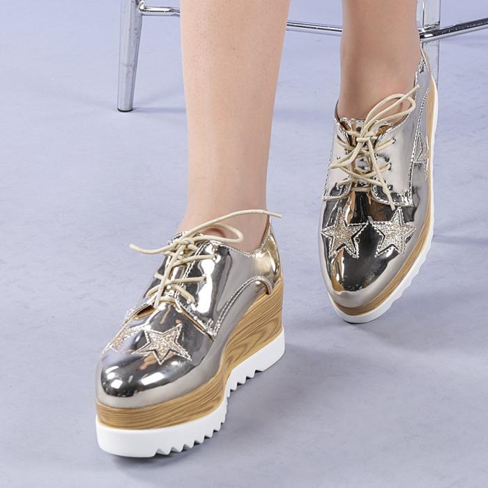 Pantofi casual dama Miriana aurii 0