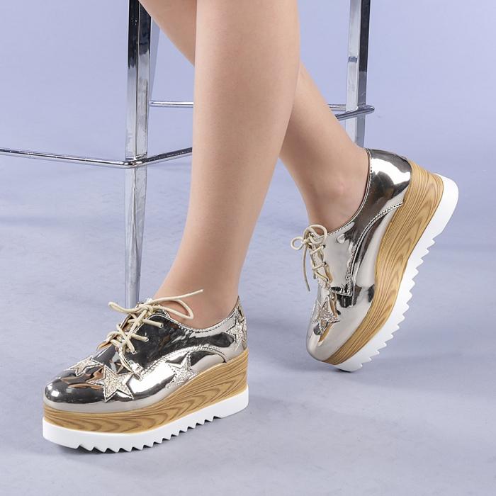 Pantofi casual dama Miriana aurii 2
