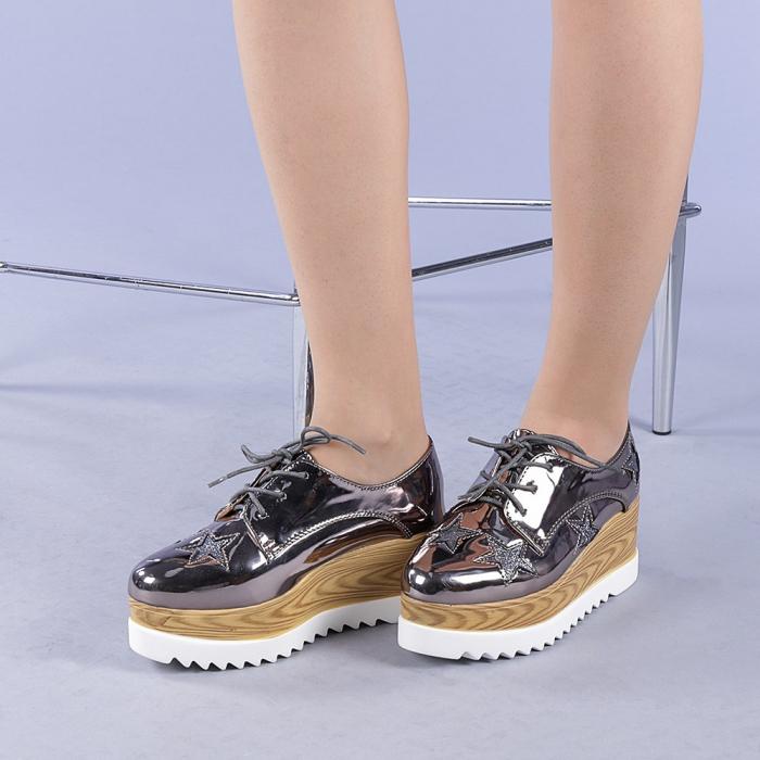 Pantofi casual dama Miriana gri 2