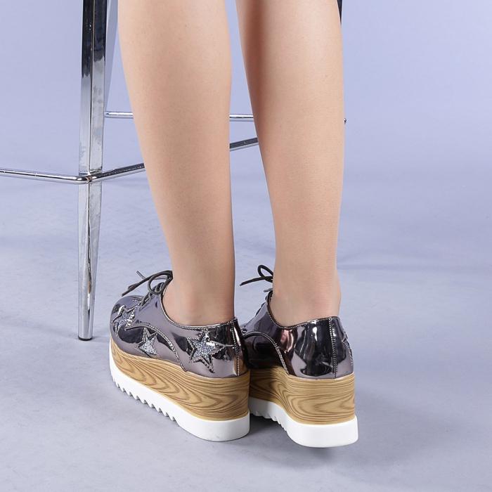 Pantofi casual dama Miriana gri 3