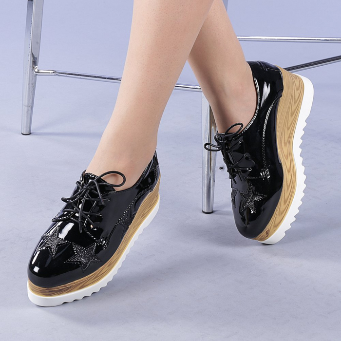 Pantofi casual dama Miriana negri 0