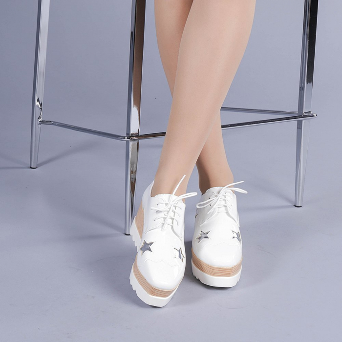 Pantofi casual dama Ramya albi 1