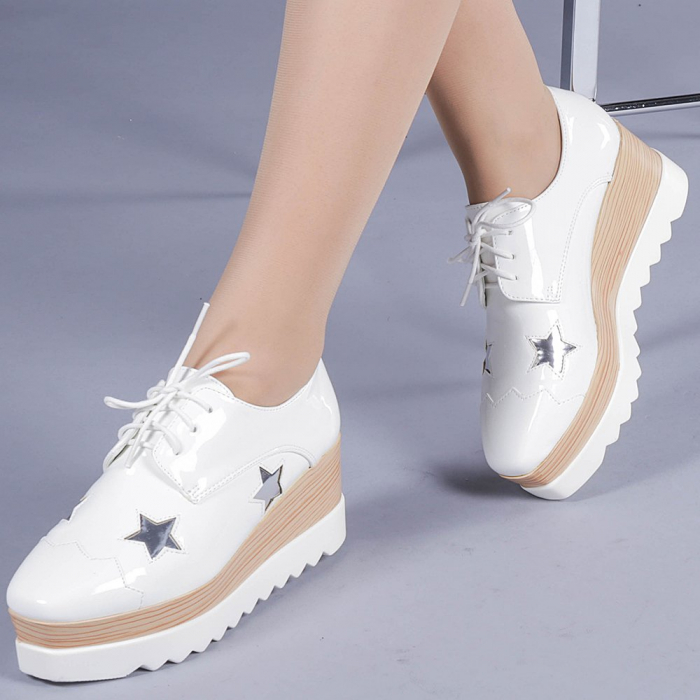 Pantofi casual dama Ramya albi 0